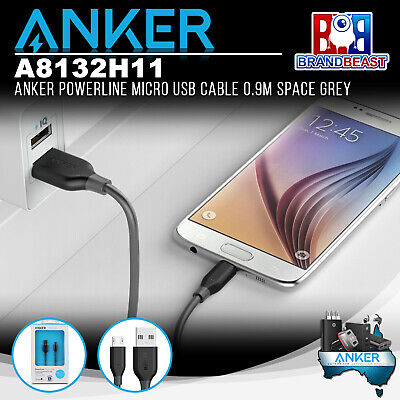 AU14.99 • Buy Anker A8132H11 PowerLine 0.9m Android Smartphones Micro USB Charging Cable Grey