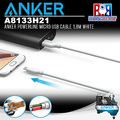 AU19.99 • Buy Anker A8133H21 PowerLine 1.8m Android Smartphones Micro USB Charging Cable White