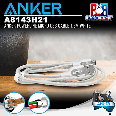 AU24.95 • Buy Anker A8143H21 PowerLine+ Micro 1.8m Android Smartphones USB Cable W Pouch White