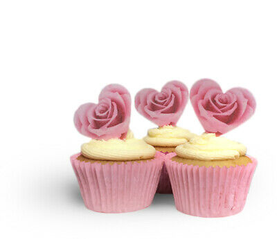 20 Precut Pink Rose Heart Shaped Edible Wafer Paper Cake Toppers- Valentines Day • 1.95£