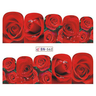 £1.65 • Buy Nail Art Water Decals Stickers Transfers VALENTINES Day Love Roses Flowers BN562