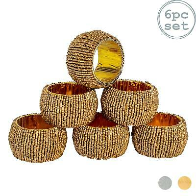 £10.99 • Buy Round Beaded Napkin Rings With Fabric Lining Wedding Table Decor - Gold X6