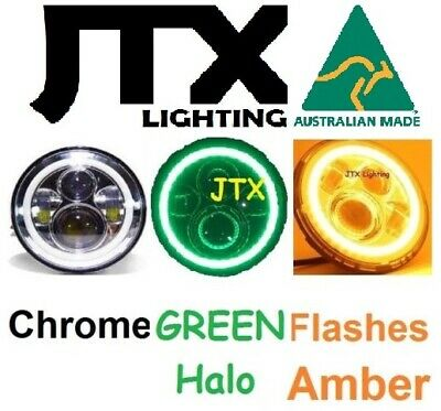 AU375 • Buy  7  CHROME Headlights GREEN Flash Amber Ford Bronco PickUp F100 F150 F250 F350