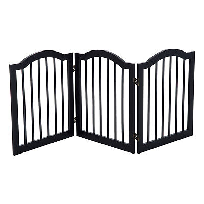 PawHut Dog Gate 3 Wood Panel Freestanding Pet Fence Folding Safety Barrier Black • 44.99£