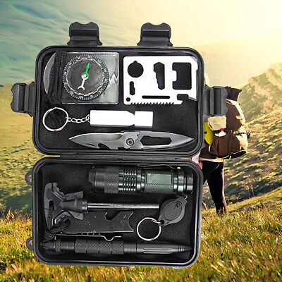 AU23.89 • Buy Emergency Survival Kit First Aid Rescue Gear Hiking Outdoor Camping Sports SOS