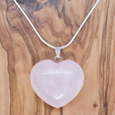 Rose Quartz Heart Necklace 28mm With 20  Silver Chain Love Health Positivity • 4.75£