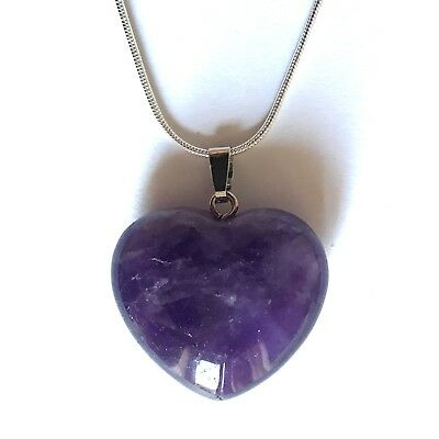 Amethyst Crystal Heart Pendant 25mm With 20  Silver Necklace Meditation • 4.95£