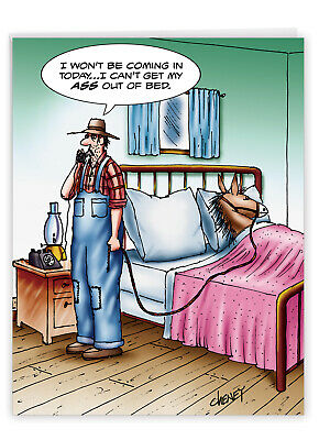 $9.62 • Buy J1365 Jumbo Funny Get Well Card: A$$ Out Of Bed With Envelope Greeting Cards
