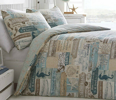Driftwood Duvet Cover Set Beach Seahorse Footprint Teal Blue Beige Brown Shell • 29.99£