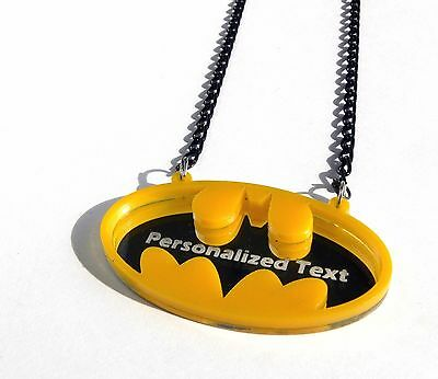 £17.35 • Buy Personalized Text Batman Necklace Laser Cut Mirror Yellow Acrylic