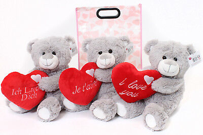 16  Large Grey Teddy Bear In Gift Bag Mothers Day  I Love You Plush Toy Present • 12.99£