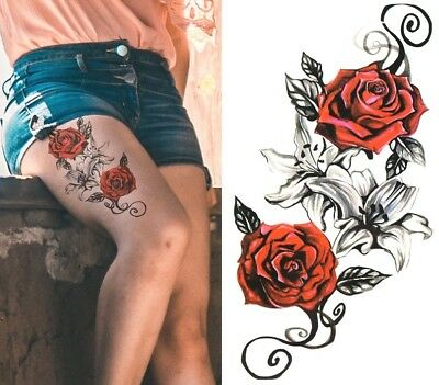 £2.89 • Buy Temporary Tattoo Large Red Roses Lily Flower Body Art Fake Waterproof Black