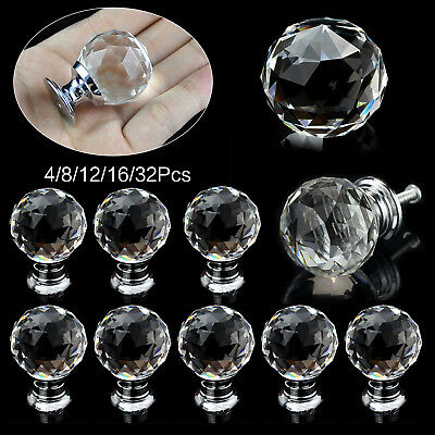 32 Pcs Door Knobs Handles Clear Crystal Glass Cupboard Drawer Cabinet Kitchen UK • 5.03£