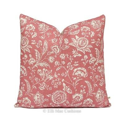 Cabbages And Roses French Toile Linen Fabric Raspberry Cushion Pillow Cover • 39.99£