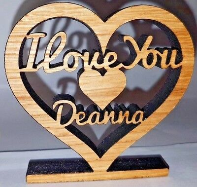 Personalised Solid Oak Free Standing 'I LOVE YOU' Plaque • 5.99£
