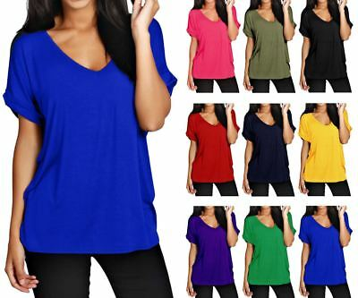 £4.99 • Buy Women Batwing Sleeve Oversized Baggy Loose Fit Turn Up Top Ladies V Neck T Shirt