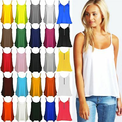 £3.75 • Buy Womens Ladies Cami Sleeveless Swing Vest Strappy Plain Flared Tank Top Plus Size
