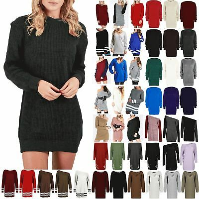 £11.99 • Buy Womens Oversized Jumper Ladies Dress Long Sleeve Chunky Knitted Long Sweater Top