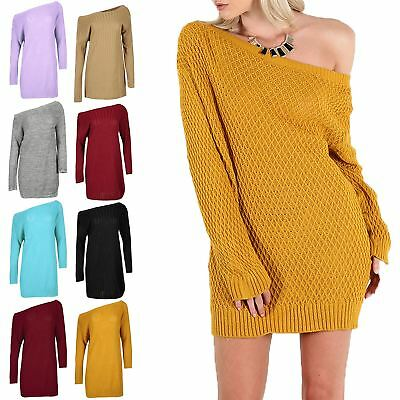 Womens Ladies Diamond Cable Knit Off The Shoulder Bardot Baggy Mini Jumper Dress • 12.99£