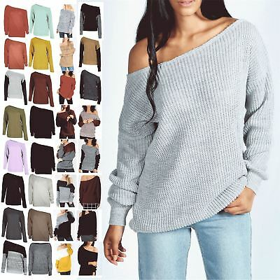 Womens Off The Shoulder Chunky Knit Jumper Ladies Oversized Baggy Sweater Top • 11.99£