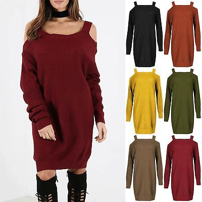 Womens Ladies Chunky Knit Open Cold Shoulder Wide Strap Baggy Jumper Mini Dress • 13.99£