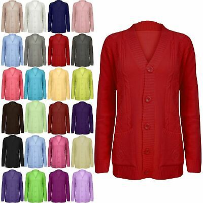 £9.25 • Buy Women Grandad Cardigan Ladies Button Up Long Sleeve Chunky Cable Knit Pocket Top