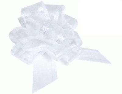 White Organza 50mm Pull Bows Wedding Swags, Pew Ends, Floristry, Gifts • 3.99£
