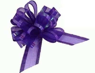 Purple Organza Pull Bows Wedding Swags, Pew Ends, Floristry, Gifts • 4.99£