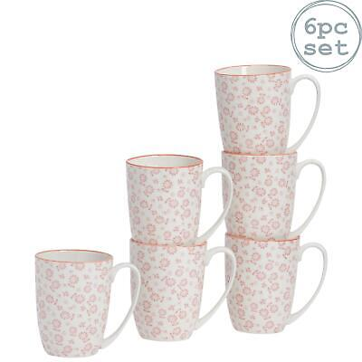Tea Coffee Mug Patterned Porcelain Cups - White And Pink - 350ml - Set Of 6 • 11.99£