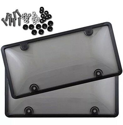 $10.95 • Buy 2x Clear Tinted Smoked Bubble License Plate Tag Shield Cover And Frame Auto