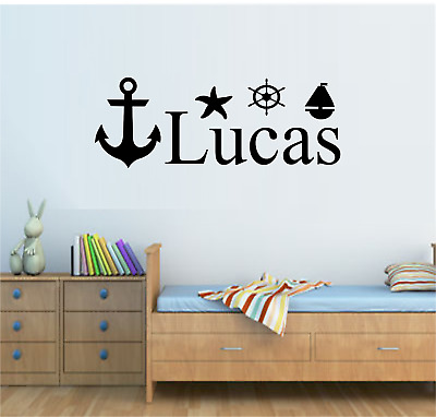 Personalised Name Nautical Sea Sailor Theme Wall Art Sticker Boys Bedroom Decor • 7.99£