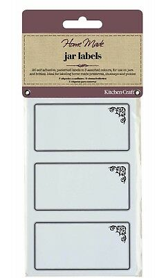 KITCHENCRAFT Pack 20 Self Adhesive Jam Jar/Bottle Labels/Stickers. Monochrome. • 3.25£