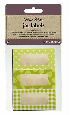 KITCHENCRAFT Pack 30 Self Adhesive Jam Jar/Bottle Labels/Stickers. Garden Green. • 3.48£