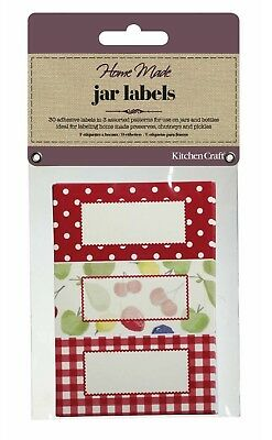 KITCHENCRAFT Pack 30 Self Adhesive Jam Jar/Bottle Labels/Stickers. Orchard/Fruit • 3.20£