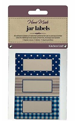 KITCHENCRAFT Pack 30 Self Adhesive Jam Jar/Bottle Labels/Stickers. Spots/Stripes • 3.20£