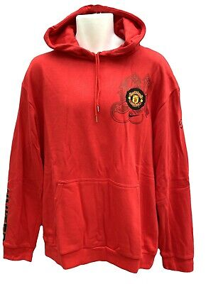 New Vintage NIKE MANCHESTER UNITED  Football Club Cotton Pullover Hoodie Red XL • 44.99£