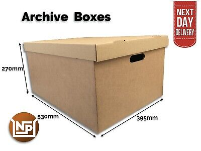 £17.50 • Buy Large Archive Storage Cardboard Boxes Pack Of 10 Office Removals Files