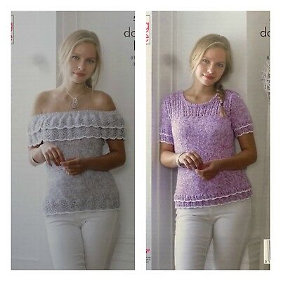 KNITTING PATTERN Ladies Off Shoulder Lace Top & Lace Jumper DK King Cole 5043 • 3.95£