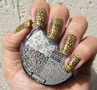 Nail Art Stamping Plates Image Plate Decoration Crackle Aztec Flowers (hehe19) • 2.45£