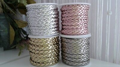 £2.99 • Buy Faux Braided Flat Metallic Leather Cord 7x2mm String Lace Thong Jewellery Craft