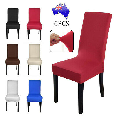 AU16.99 • Buy 6 PCS Dining Chair Covers Spandex Cover Stretch Washable Wedding Banquet Party