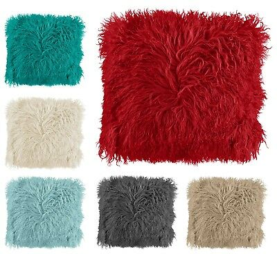 £6.95 • Buy Mongolian Super Soft Faux Fur Shaggy Scatter Cushion Covers 43x43cm Red Cream