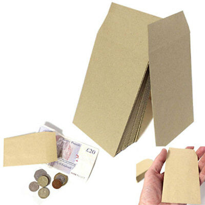 SMALL BROWN ENVELOPES 100x62mm DINNER MONEY WAGES COIN TUCK POCKET SEEDS BEADS • 1.99£