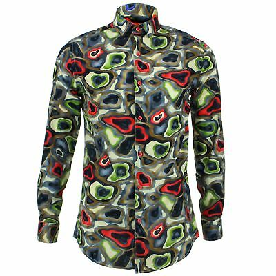 £19.95 • Buy Mens Shirt Loud Originals TAILORED FIT Camouflage Blue Retro Psychedelic Fancy