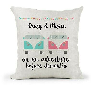 £12.99 • Buy Personalised Cushion Cover Gift Campervan Wedding/Leaving Gift. Adventure/Family