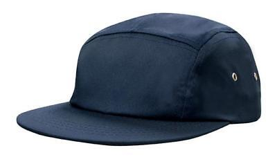 AU9.95 • Buy 5 PANEL Cotton Twill Square Front FLAT Peak With Metal Eyelets Cap Hat - Navy