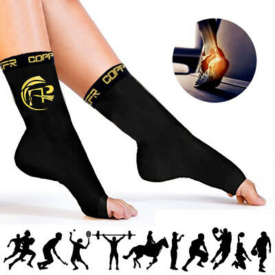 Copper Infused Foot Drop Compression Sleeve Recovery Ankle Support Toe Socks HBQ • 10.99£