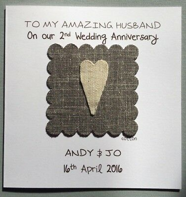 Personalised 2nd/cotton Wedding Anniversary Card/second Wedding/cotton Heart/3D • 3.49£