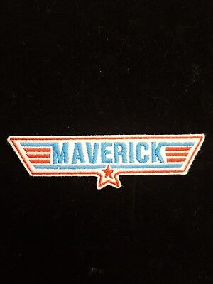 £3.60 • Buy Maverick Red / Blue Top Gun Embroidered Patch, Badge Iron On Or Sew On