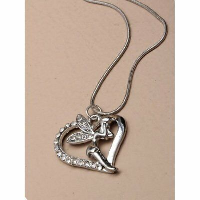 £1.99 • Buy Necklace Silver Heart Fairy Pendant Silver Plated With Crystals
